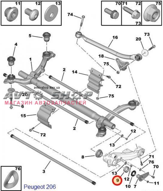 Торсионная подвеска peugeot 206